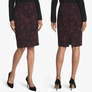 NEW WHBM Rose Print Jacquard Pencil Skirt 12